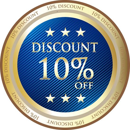 Ten Percent Discount Blue Medal